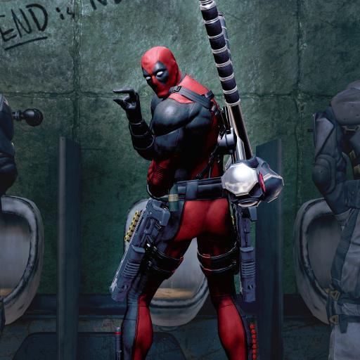 死侍 超级英雄 漫威 欧美 回头 厕所 洗手间 搞怪