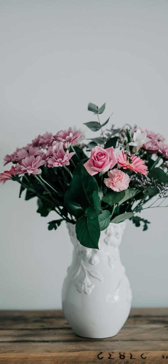 鲜花 枝叶 玫瑰 菊花