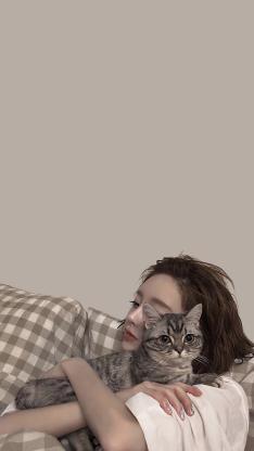 女孩 猫咪 宠物 ins风
