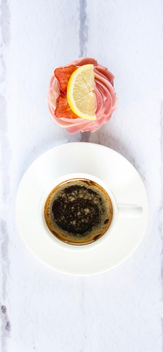 饮品 黑咖啡 纸杯蛋糕 柠檬