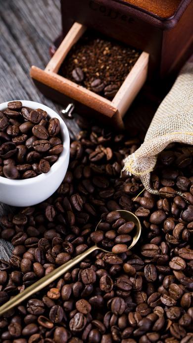 咖啡豆 颗粒 杯子 研磨