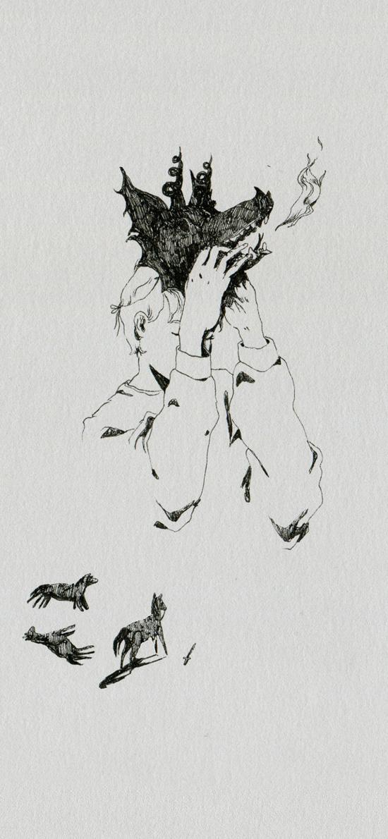 繪畫 黑白 臆想 少年