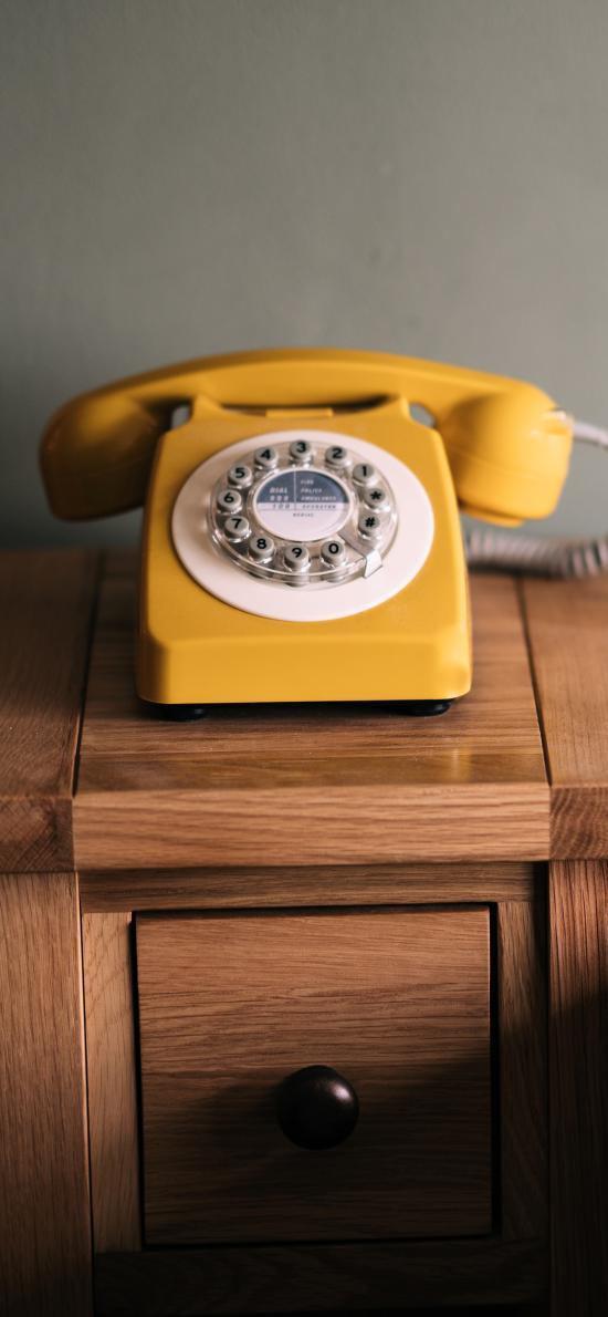 家居 电话 复古 黄色