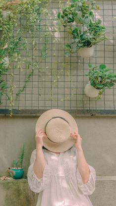 夏日 女孩 草帽 小清新