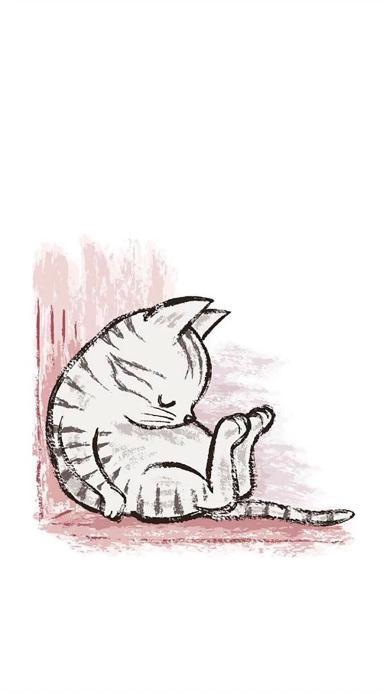 插画 简笔画 猫咪 睡觉