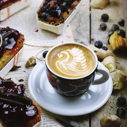 咖啡 甜品 拉花 杯具 水果 蓝莓