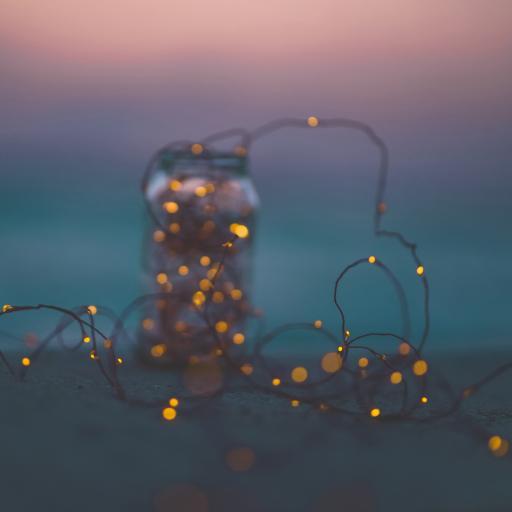 沙滩 罐子 小灯 唯美