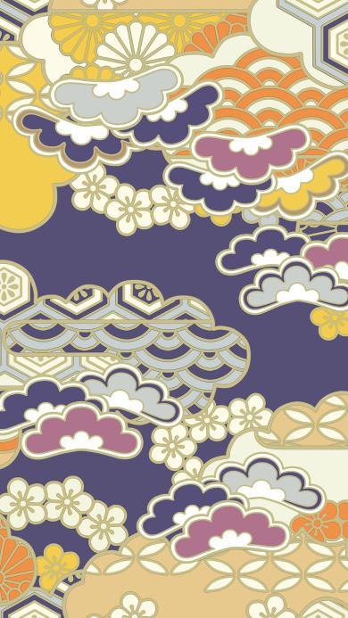 图案 纹饰 日本风 紫黄