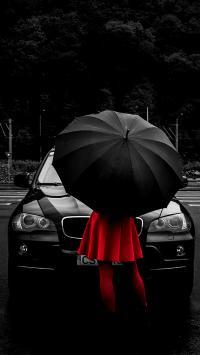 背影 红裙 黑伞 创意