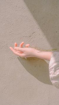 手部 阳光 墙角 意境