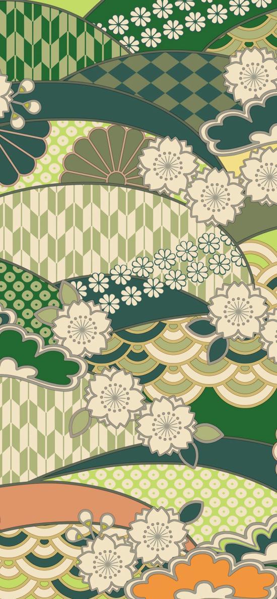 图案 纹饰 日本风 绿色 樱花 扇形