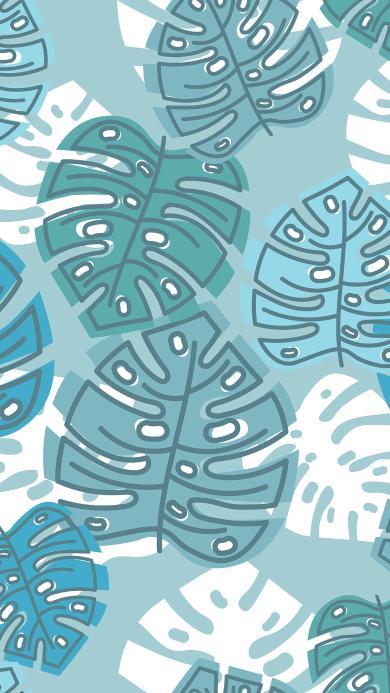龟背竹 蓝色 插画 平铺 叶子