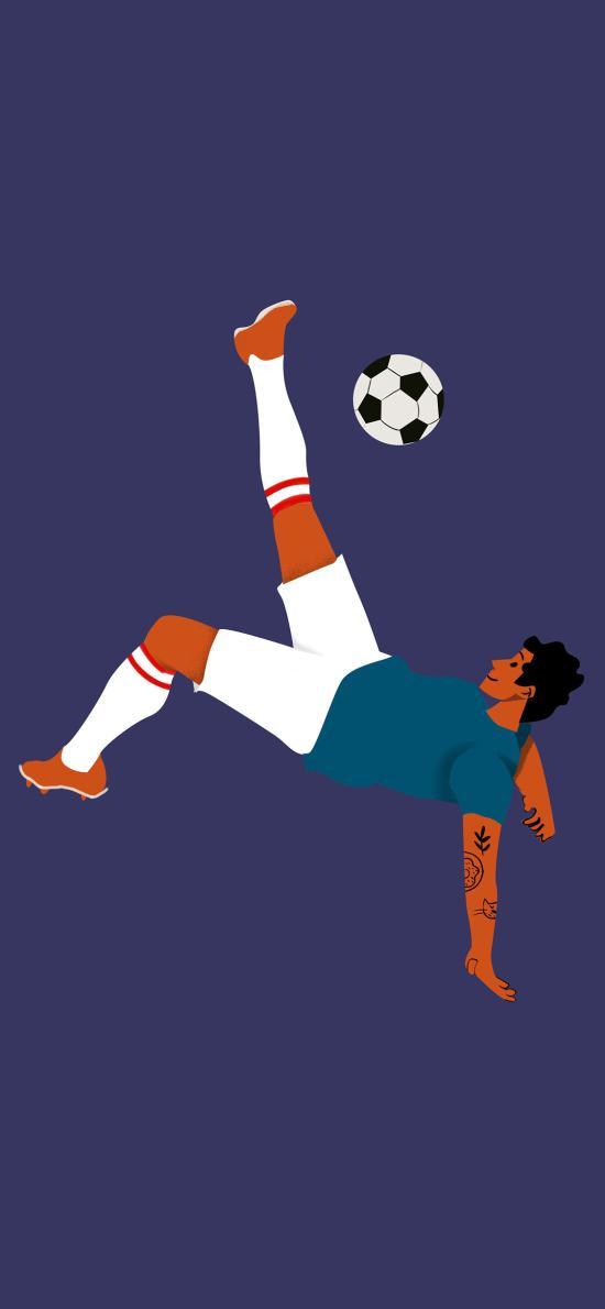 足球 運動員 踢球 插畫 紫色