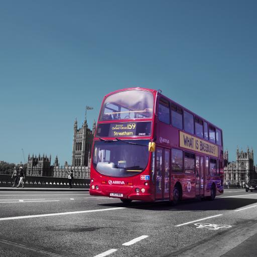 红色巴士 伦敦 城市 马路 行驶