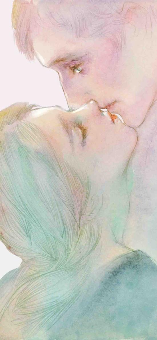 ENOFNO插画 情侣 拥吻 色彩