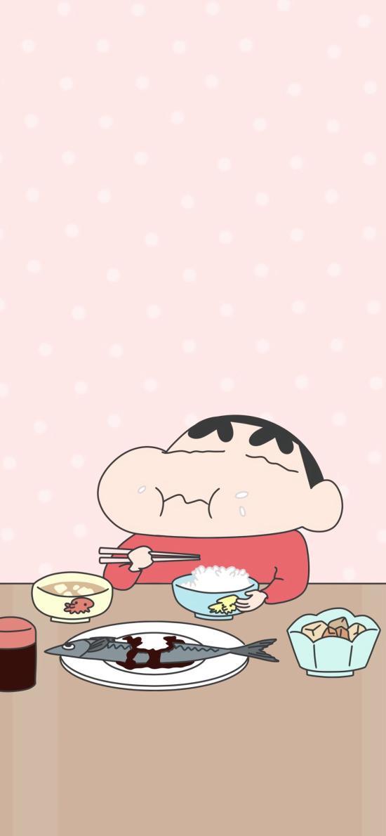 蜡笔小新 日本 动画 粉色 吃饭 鱼
