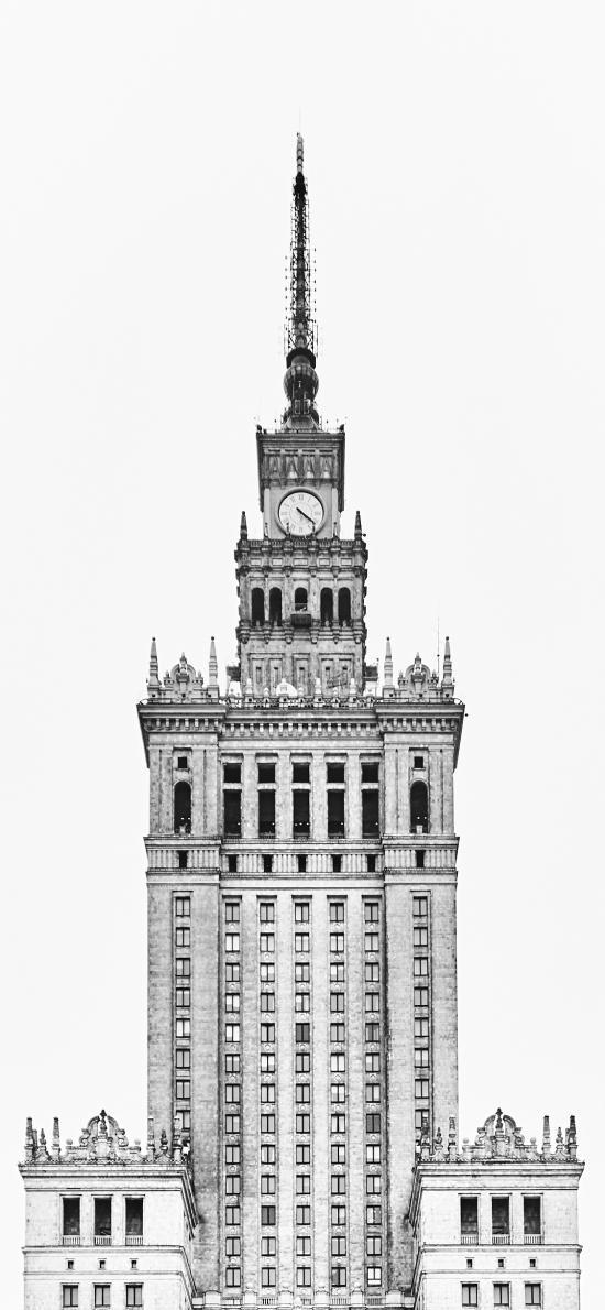 欧式 建筑 时钟 黑白