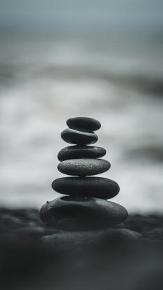 鹅卵石 层叠 堆积 平衡 石头