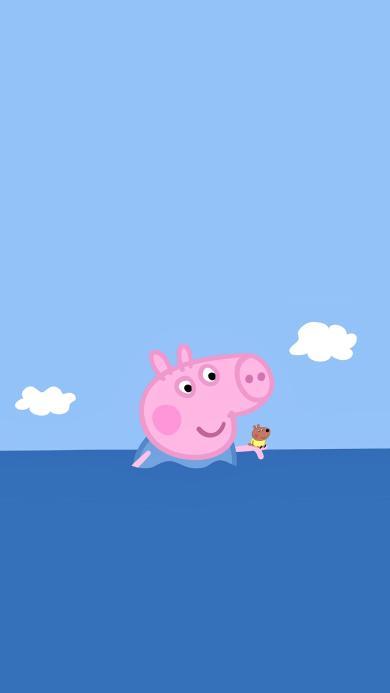 小猪佩奇 动画 卡通 可爱 蓝色