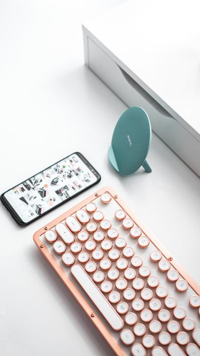 静物 键盘 手机 清新