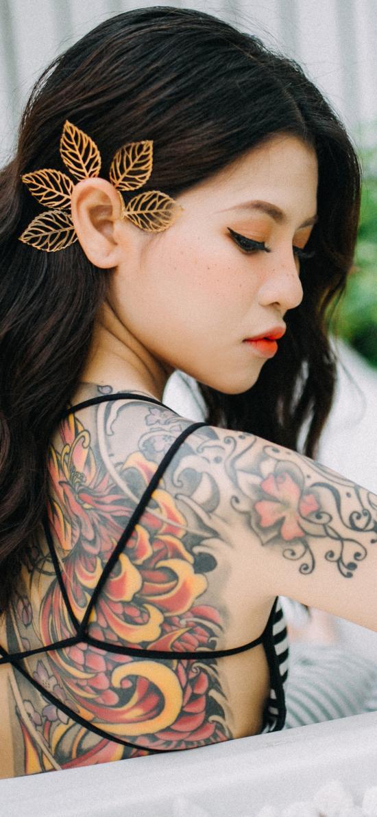 个性 纹身 刺青 性感 女孩