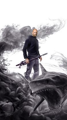巨齿鲨 电影 海报 鲨鱼 杰森·斯坦森 水墨