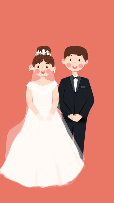 结婚 粉色 婚纱 浪漫 爱情 插画