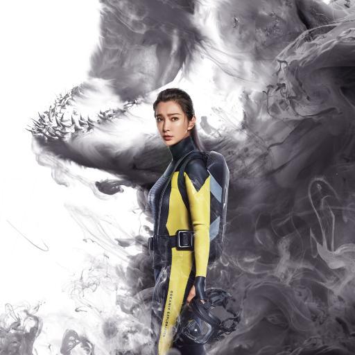 巨齿鲨 电影 海报 鲨鱼 李冰冰 水墨