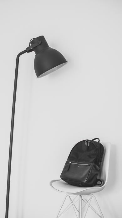 静物 黑白 台灯 书包 椅子