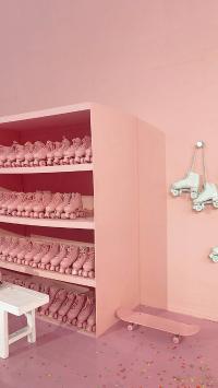 溜冰鞋 轮子 粉色 滑板 室内 运动