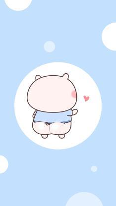 猪猪蓝色 背影 爱心 可爱 情侣