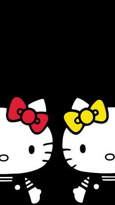 Hello kitty 凯特猫 动画 卡通 黑色 蝴蝶结