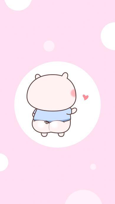 猪猪 粉色 背影 爱心 可爱 情侣