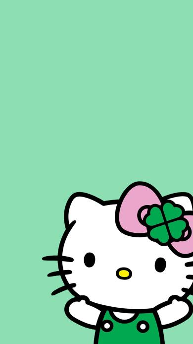 Hello kitty 凯特猫 动画 卡通 绿色 蝴蝶结