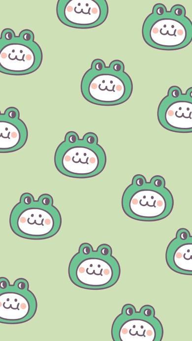 后田花子 绿色 可爱 平铺 青蛙