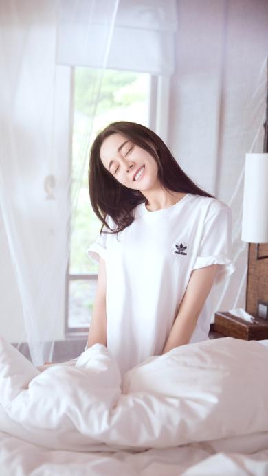 迪丽热巴 演员 明星 艺人 床 白色