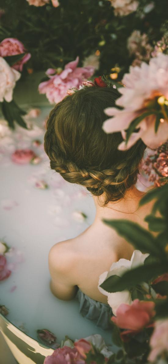背影 鮮花 盛開 花瓣浴 美容