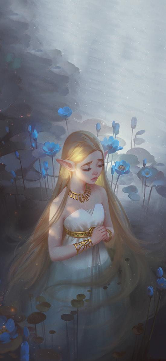 游戏插画 CG原画 精灵 祷告