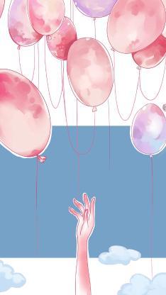 气球 手 插画 水彩 云朵