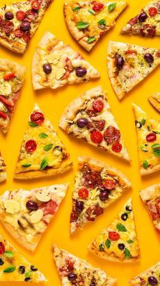 披萨 食物 快餐 黄色 平铺