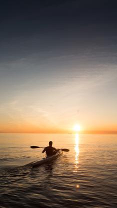 皮划艇 大海 黄昏 运动