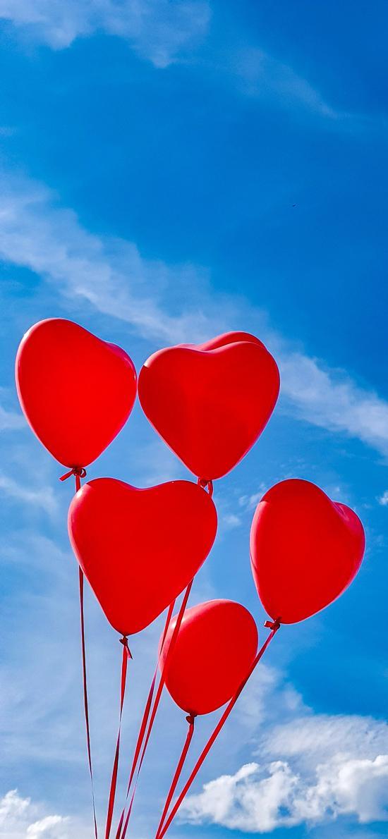 气球 爱心 浪漫 天空
