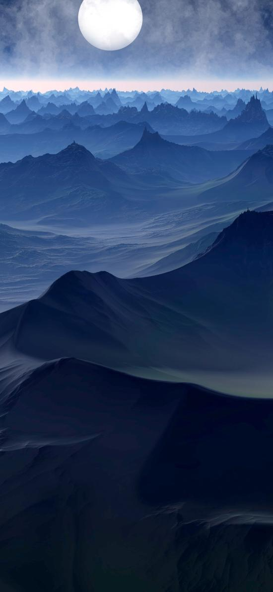山川 山脈 月亮 夜 大自然