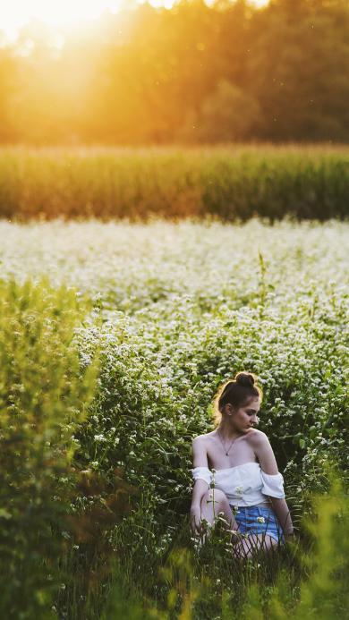欧美美女 花丛写真 唯美