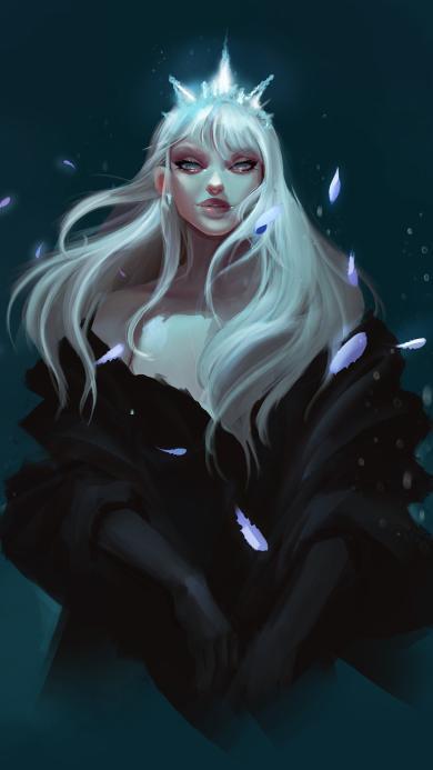 手绘 插画 暗黑系 女王