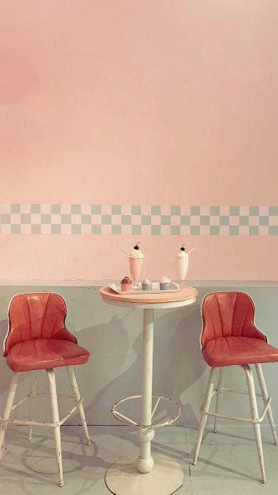 甜品店 粉色 雪糕 糕点 少女