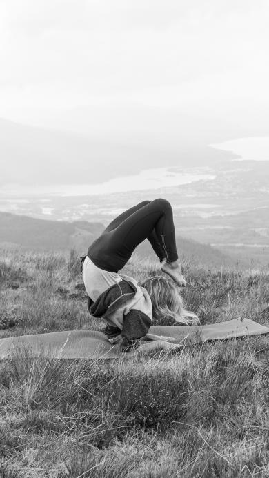 瑜伽 运动 山顶 黑白 养身