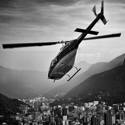 直升机 飞机 航空 城市 建筑 黑白