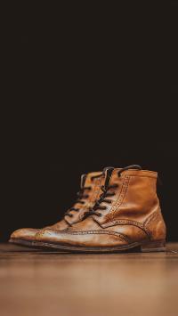 鞋子 皮靴 高帮 棕色