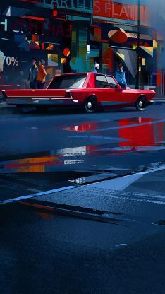 城市 插画 艺术 街道 行人 汽车